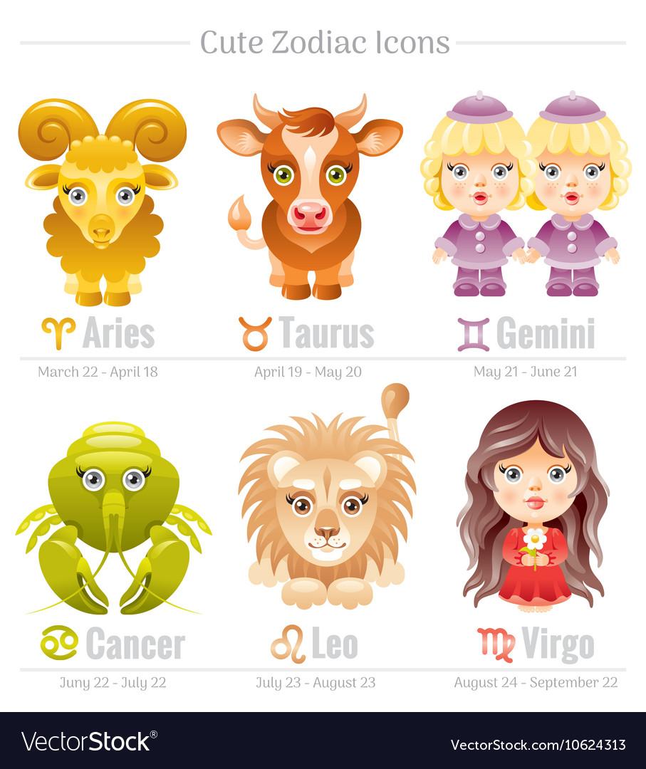 Zodiac astrological signs icon set Cute cartoon.