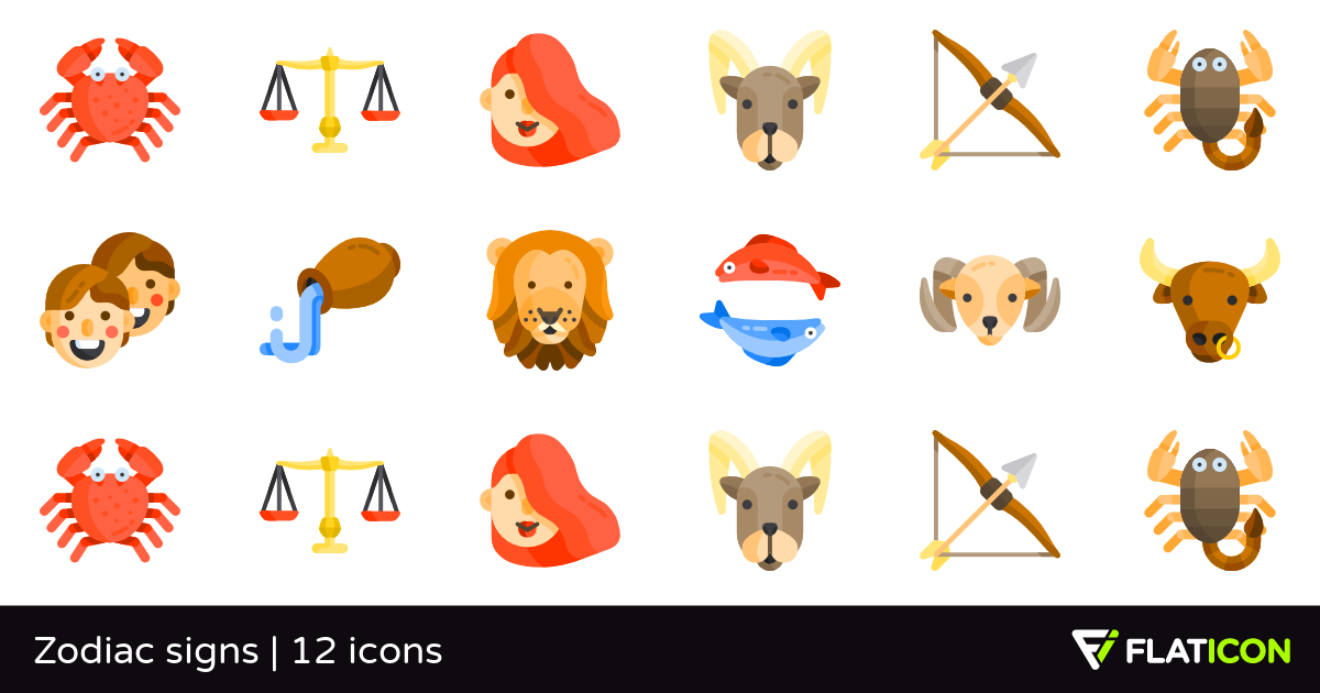 Zodiac signs 12 free icons (SVG, EPS, PSD, PNG files).