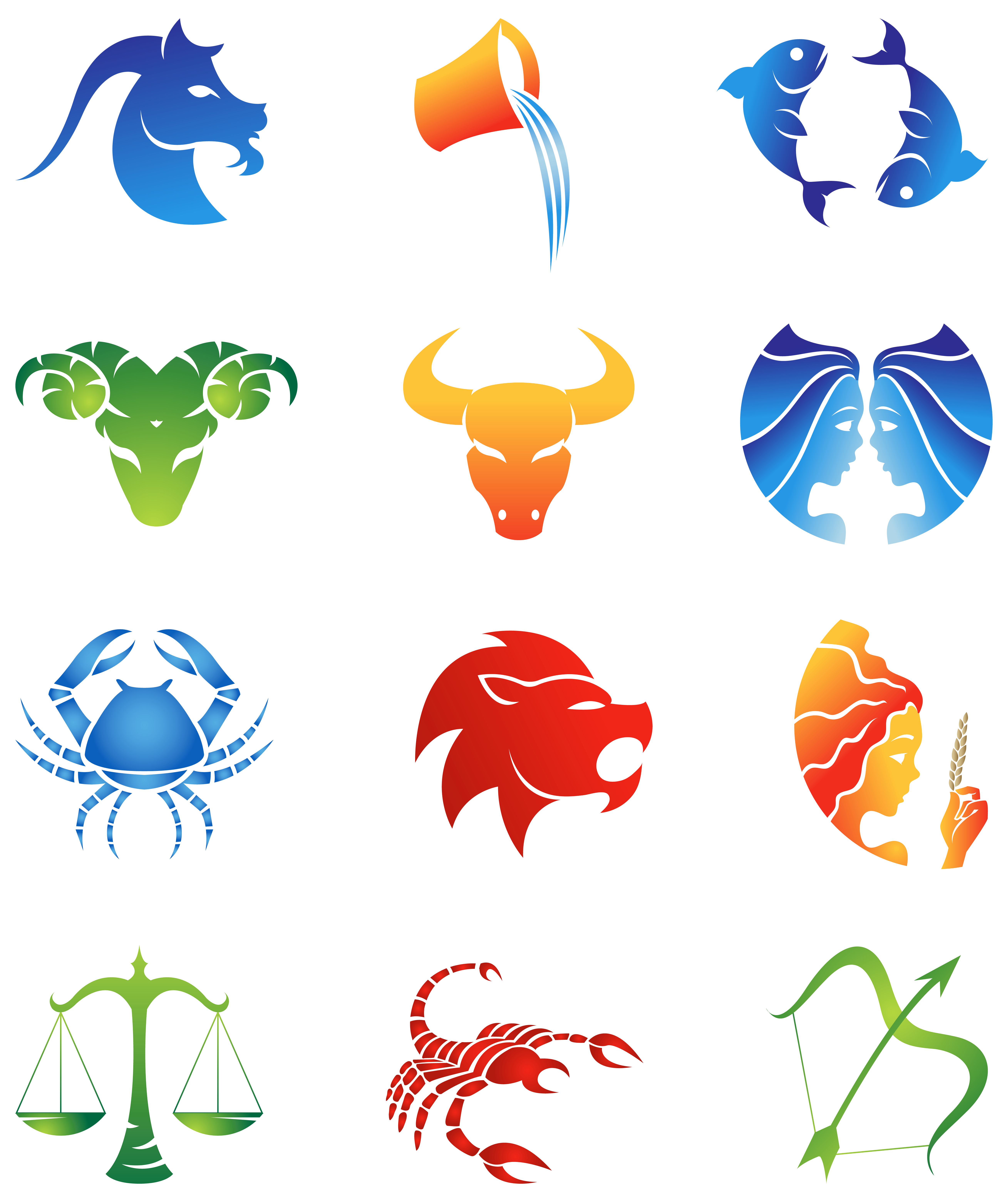 Colourful Zodiac Signs Set PNG Clipart Image.