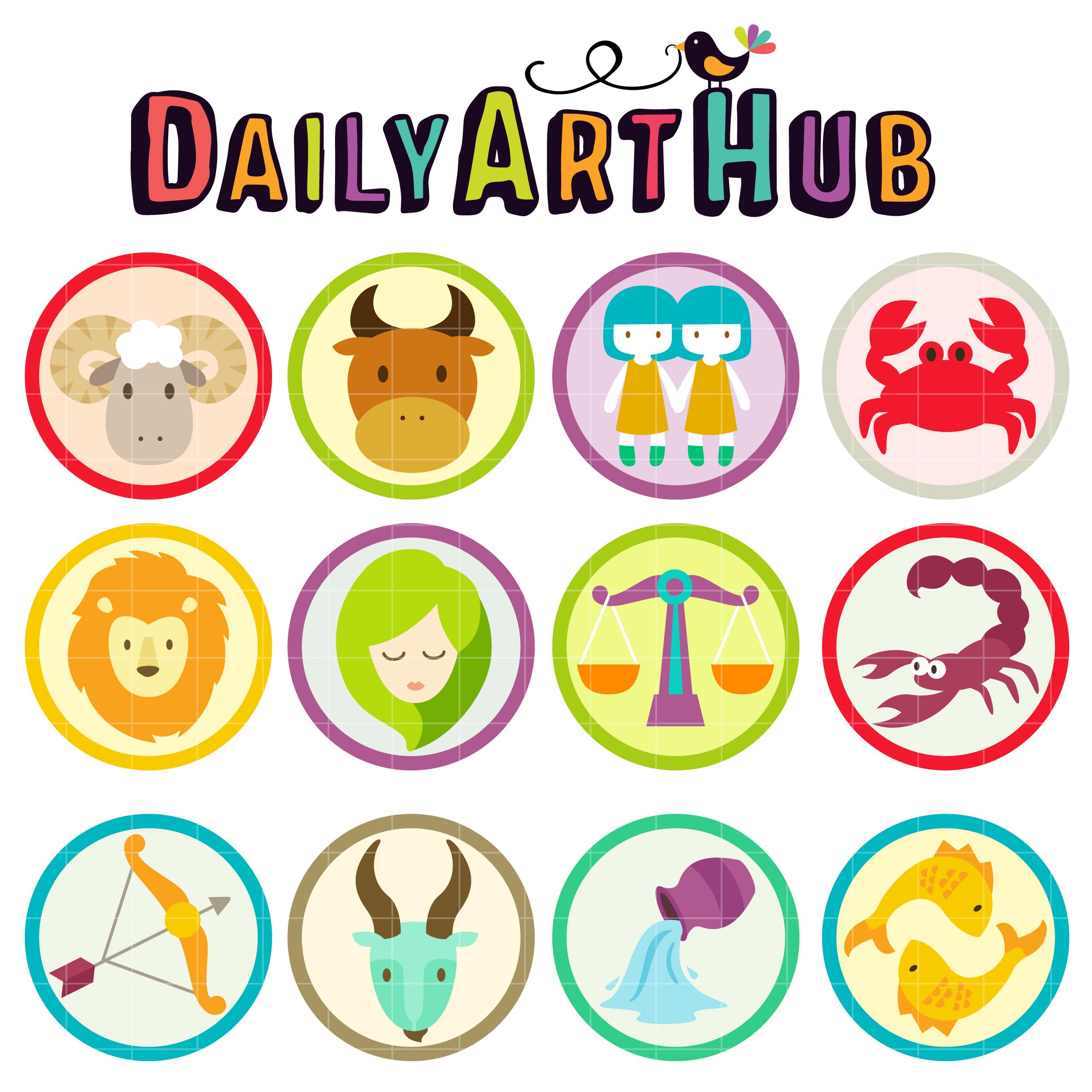 Cute Zodiac Signs Clip Art Set.