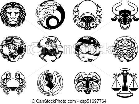 Zodiac astrology horoscope star signs icon set.