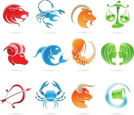 Free Set of 12 Zodiac Signs Clipart and Vector Graphics.