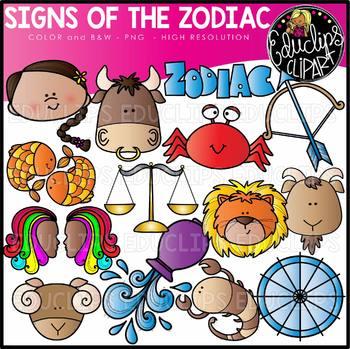 Zodiac Signs Clip Art Set {Educlips Clipart}.