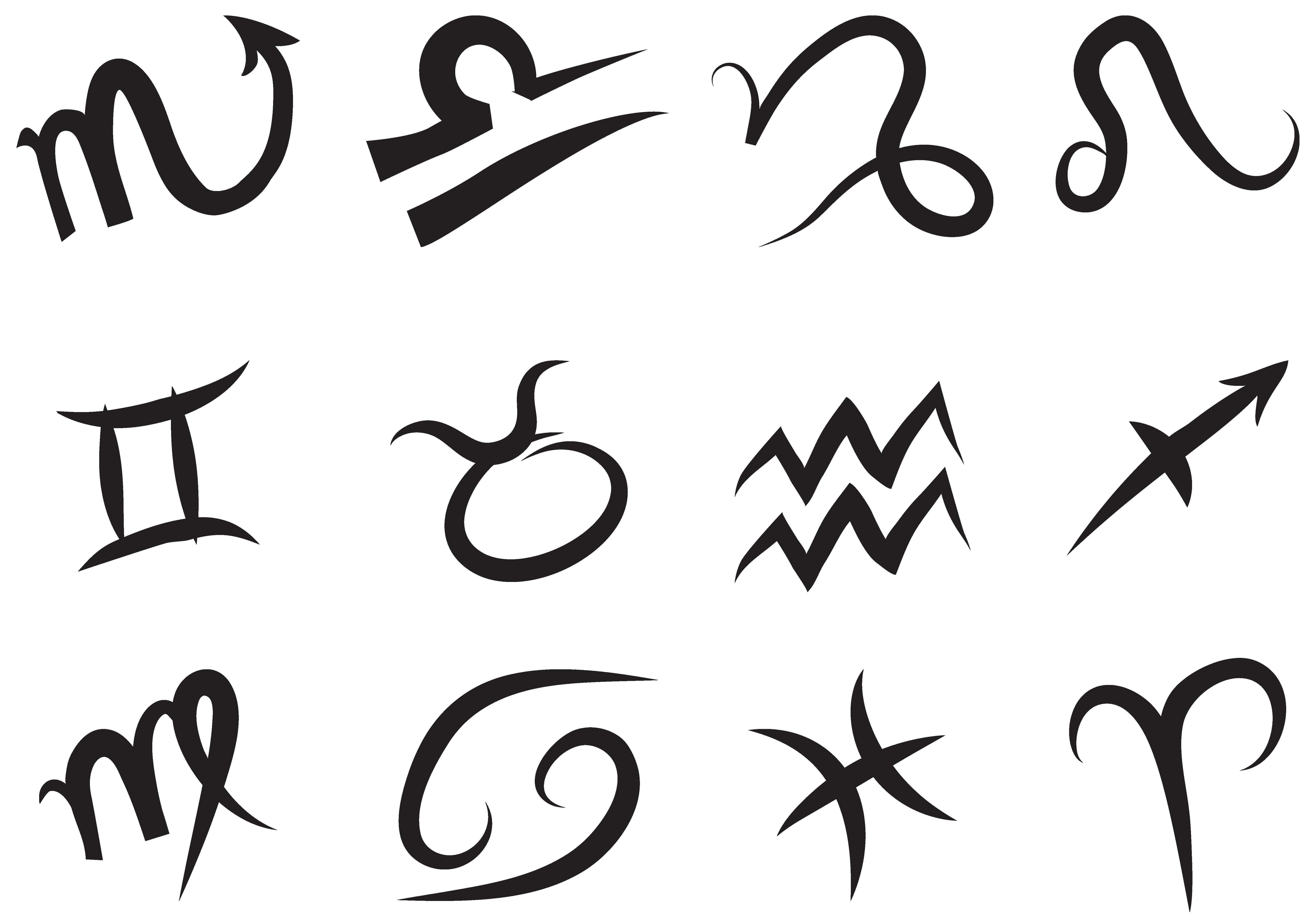 Zodiac Signs Set PNG Transparent Picture.