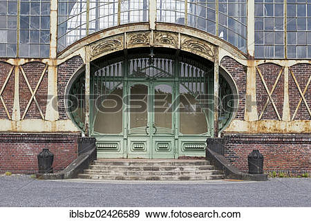 "Stock Photograph of ""Side entrance of the machine hall of Zeche."