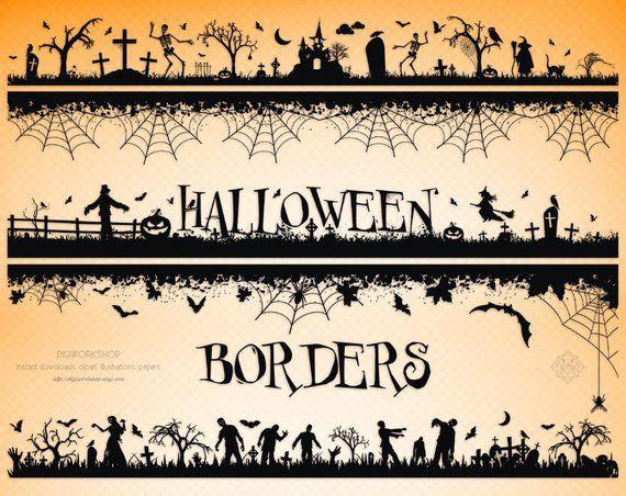 Digital Halloween Borders, instant download clipart.