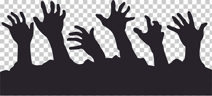 Zombie Silhouette , hands PNG clipart.