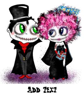 Cartoon Zombie Wedding Stickers.