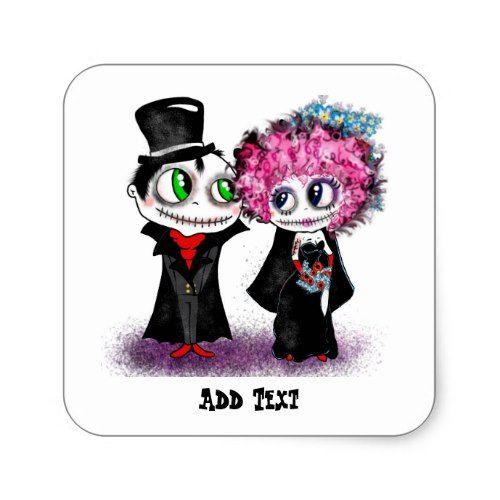 Cute zombie bride and groom cartoon GOTH wedding Square.