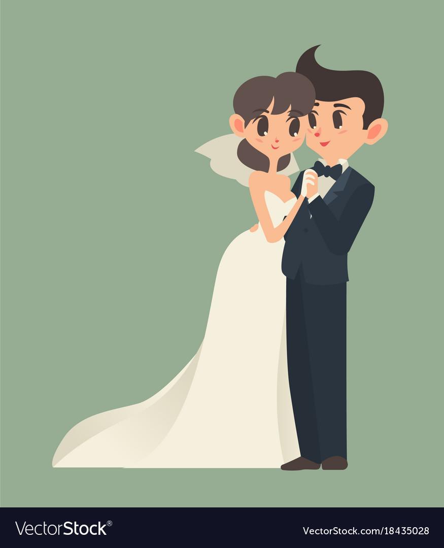 Bride and groom cartoon character.