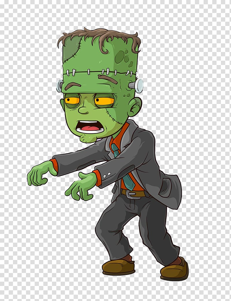 Frankensteins monster Cartoon Zombie, Cartoon green monster.