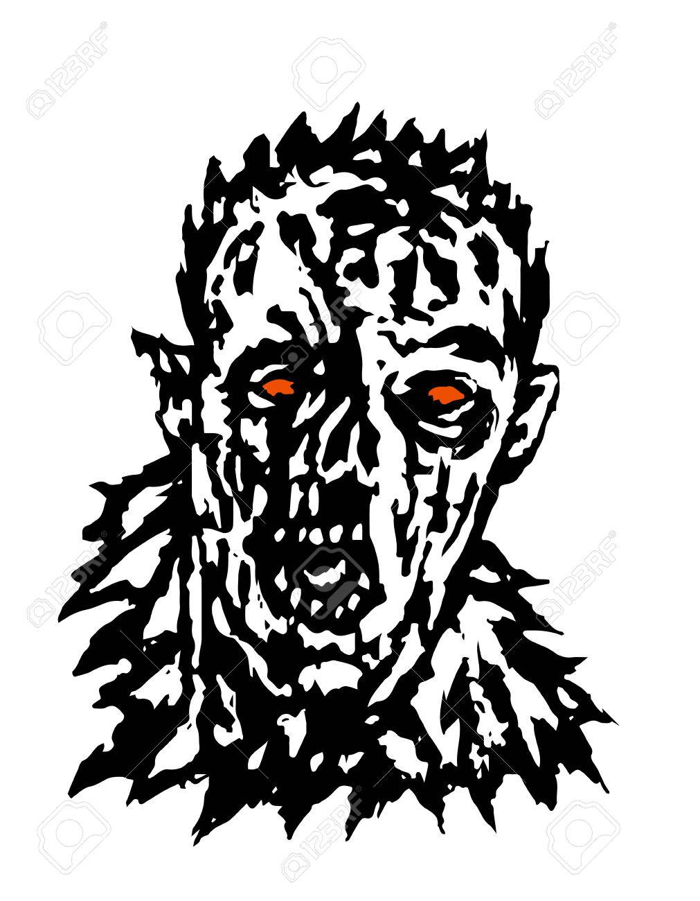 Wrath of the zombie. Vector illustration. Black and white colors.
