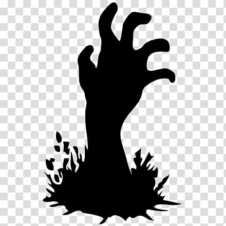 Black and White Zombie Hand transparent background PNG.