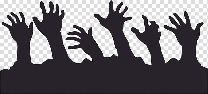 Zombie Silhouette , hands transparent background PNG clipart.
