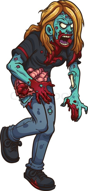 Walking zombie woman vector clip art illustration with.