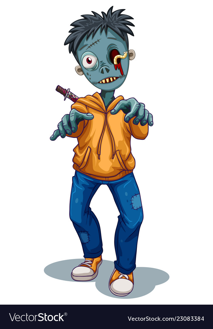 A zombie character on white background.