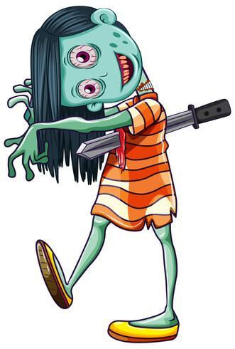 Creepy Zombie girl white background.