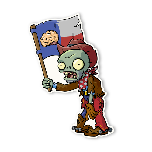 Plants vs. Zombies 2: Cowboy Flag Zombie.
