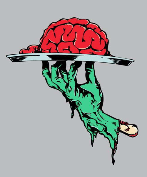 Zombie Brains on a Serving Platter illustration art.