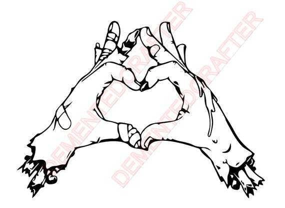 Zombie Hand Heart SVG Vector Clipart cutfile cut file Halloween love horror  hands holiday scary cute party decal art decor silhouette love.