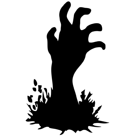 Black and White Zombie Hand Clipart transparent PNG.