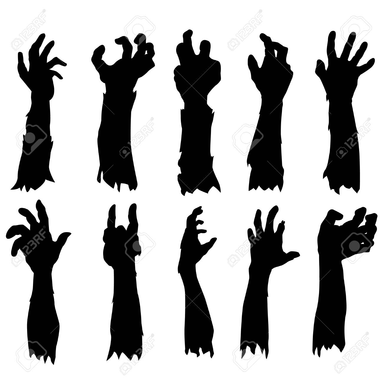 Zombie Hand Silhouette Clip Art Design Vector Set Collection.