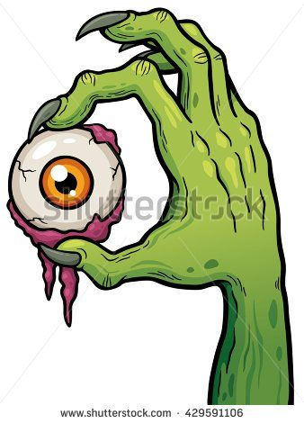 Vector illustration of Cartoon zombie hand holding eye.