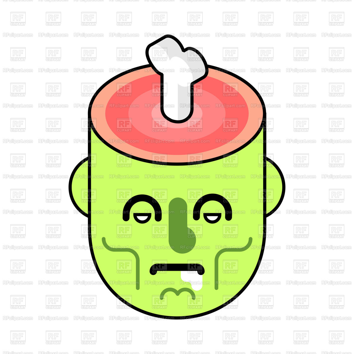 Zombie head and bone in brain Stock Vector Image.