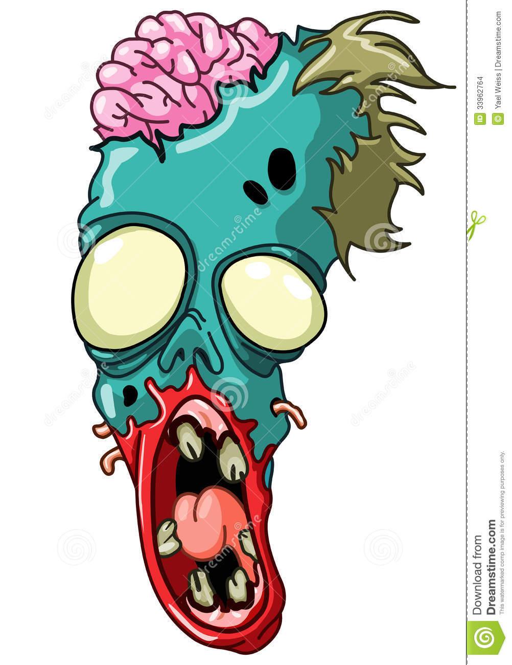 Zombie head stock vector. Illustration of clipart, bones.