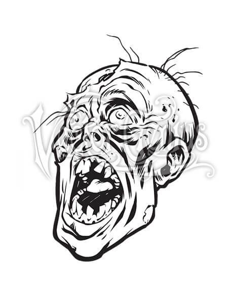 Beast Wreck Undead Zombie Head ClipArt.