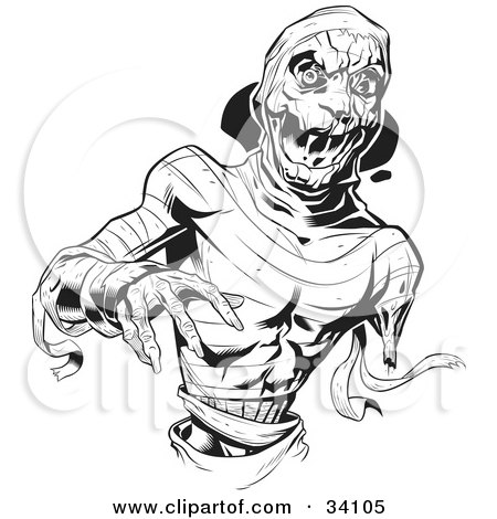 Clipart Illustration of a Scary Zombie Corpse Rising From The.