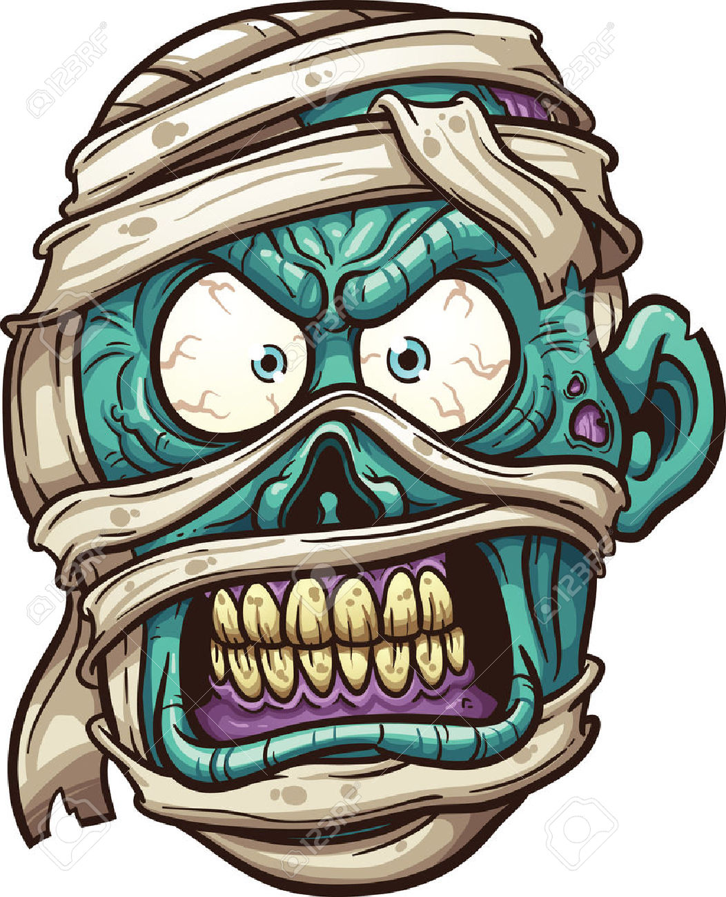 Angry Mummy Face. Royalty Free Cliparts, Vectors, And Stock.