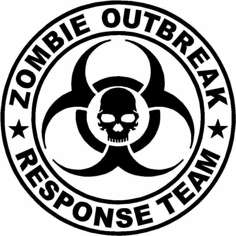 16CM*16CM Zombie Outbreak Response Team Decal Apocalypse.