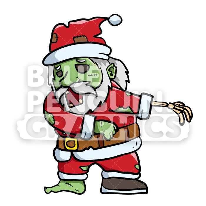 Scary Santa Zombie Flossing Vector Cartoon Clipart Illustration.