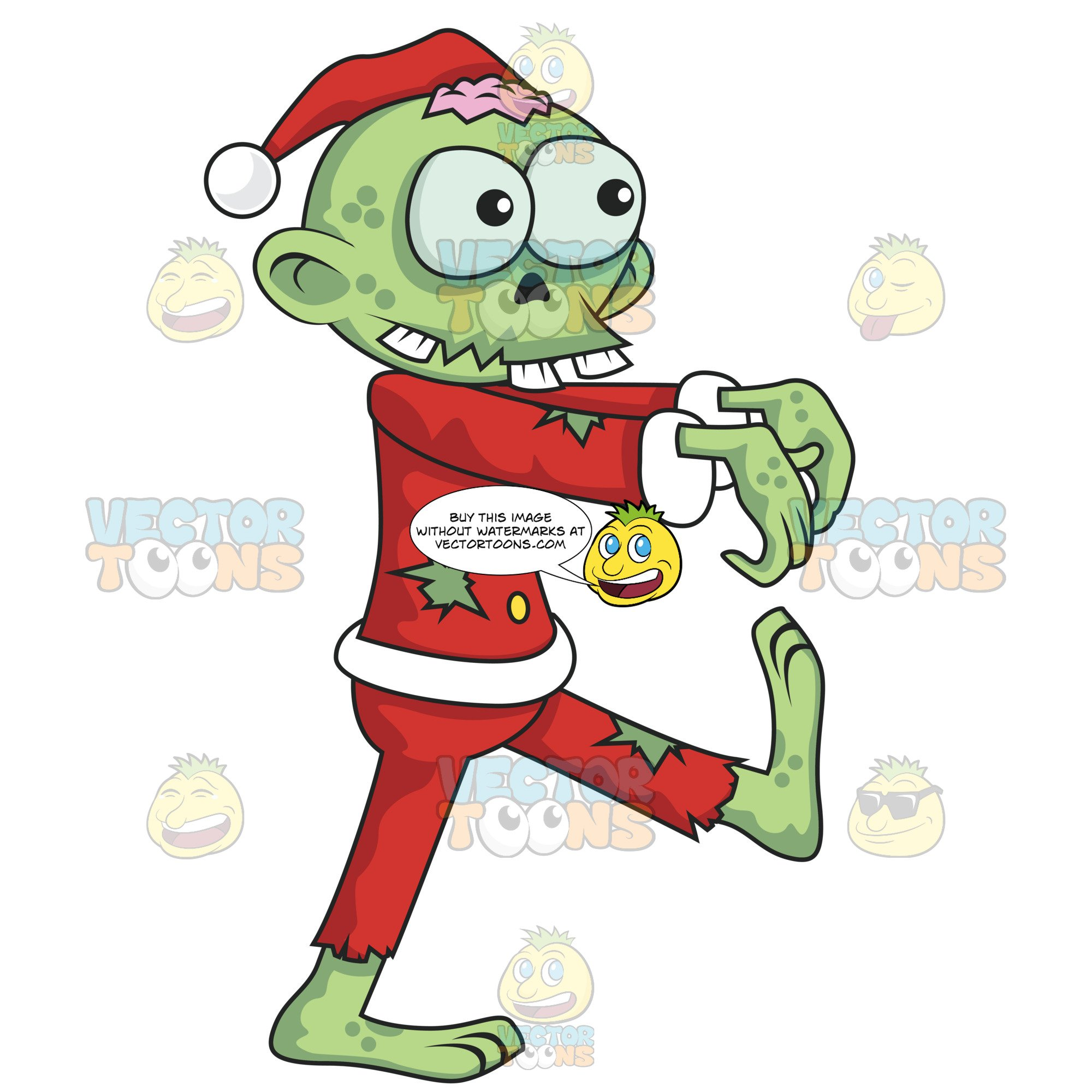 Santa Zombie With Green Skin And Holes In His Clothing.