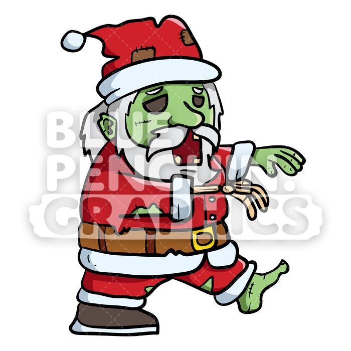 Scary Walking Santa Claus Zombie Vector Cartoon Clipart Illustration.