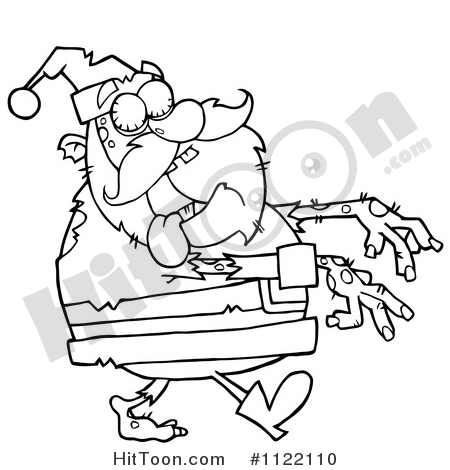 Santa Clipart #1122110: Outlined Zombie Santa by Hit Toon.