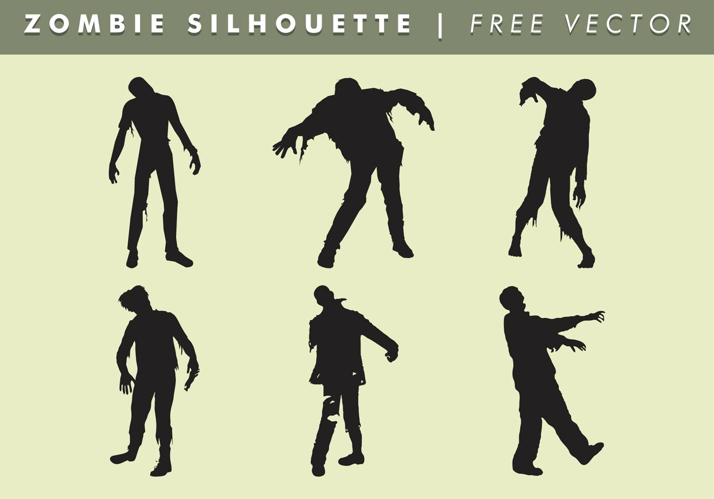 Zombie Silhouette Free Vector Art.