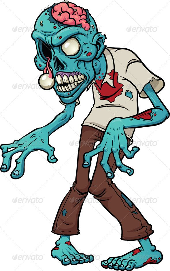 Cartoon zombie. Vector clip art illustration with simple.