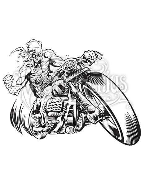 Beast Wreck Biker Zombie Motorcycle ClipArt.