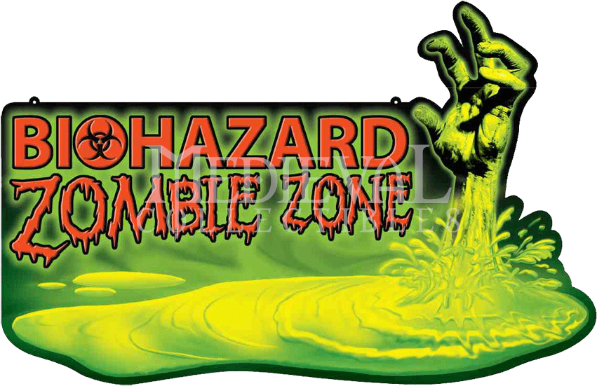 Biohazard Zombie Warning Wall Sign.