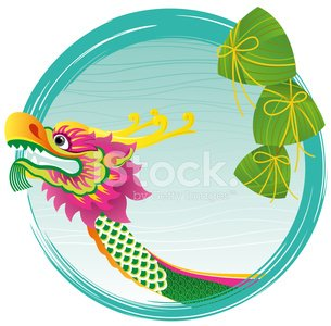 Chinese Dragon boat head and zong zi art design Clipart.