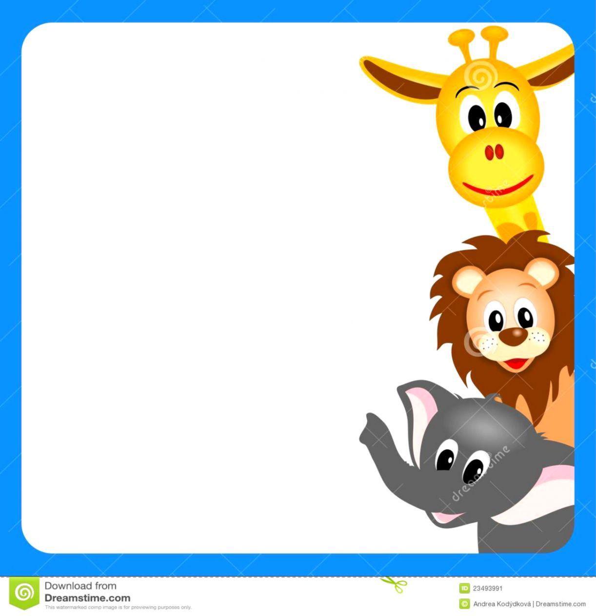Zoo Animals Clipart Border.