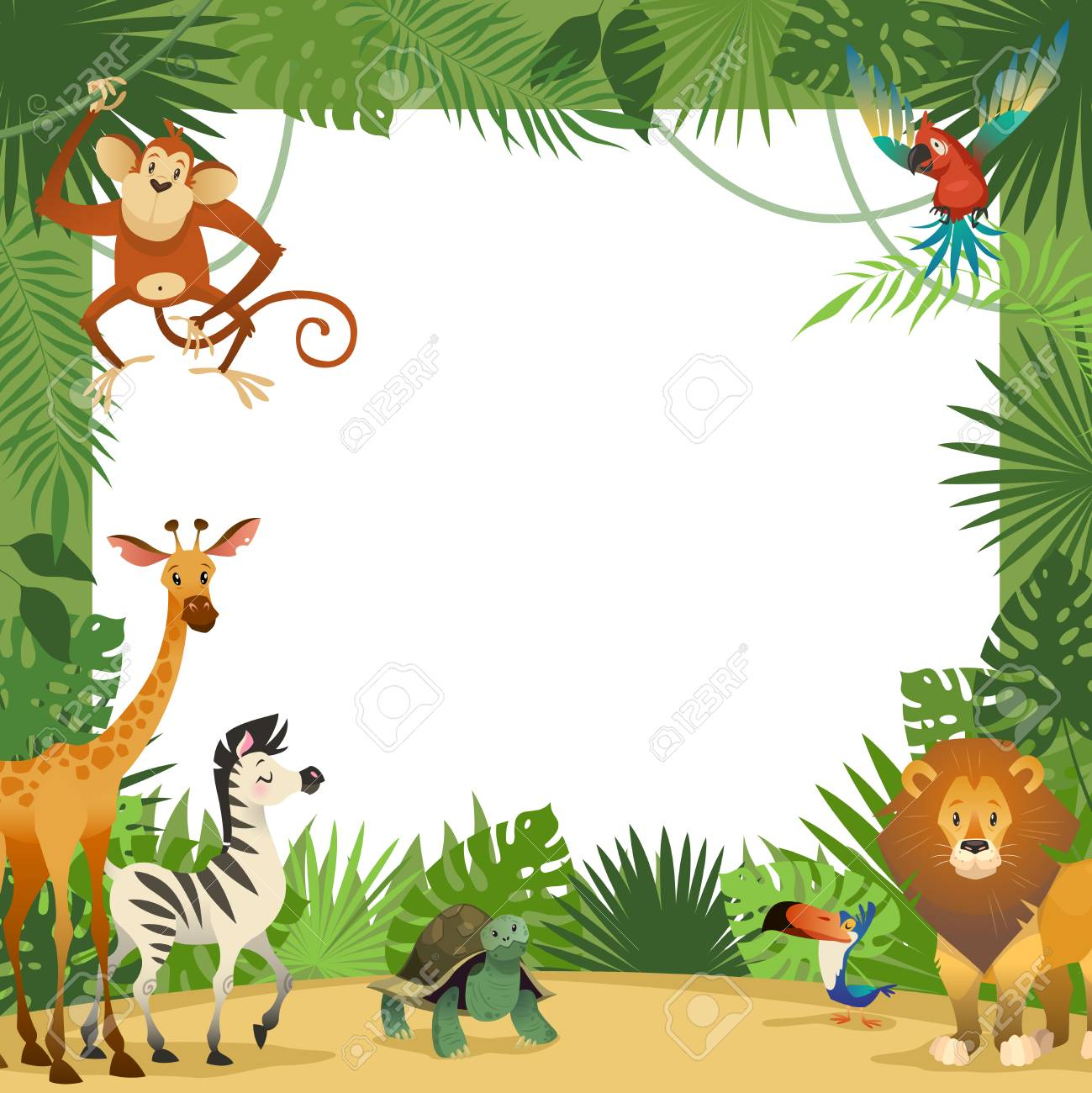 Jungle animals card. Frame animal tropical leaves greeting baby...