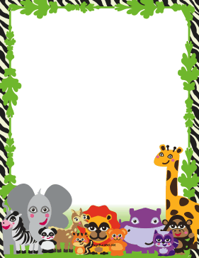 This printable jungle border is populated with cute, happy animals.