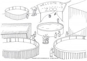 Empty Zoo Cage Coloring Page.