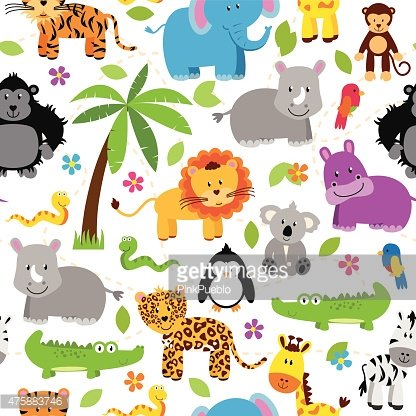 Seamless, Tileable Jungle or Zoo Animal Themed Background.