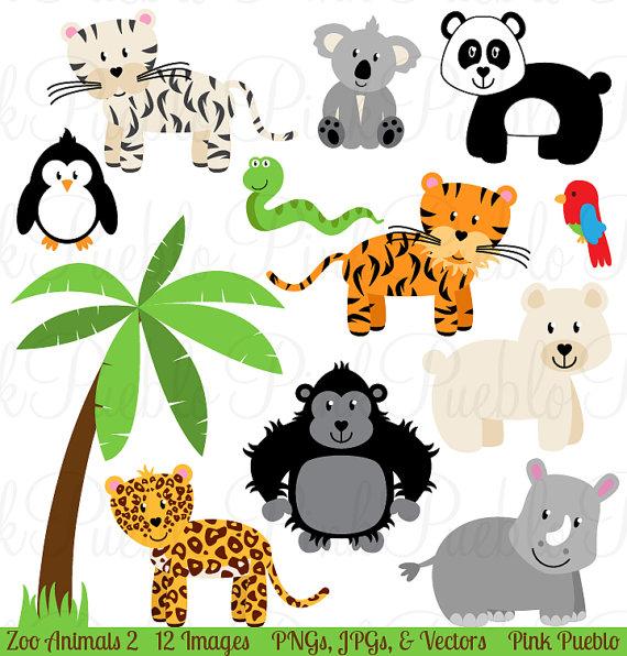 Zoo Animal Clip Art 2, Zoo Animal Clipart, Safari Jungle.