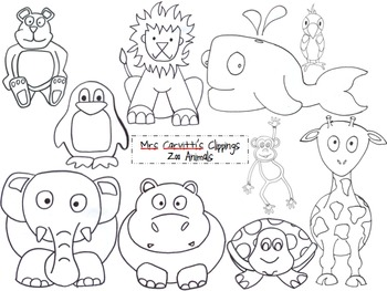 Zoo Animal Black And White Clip Art & Worksheets.