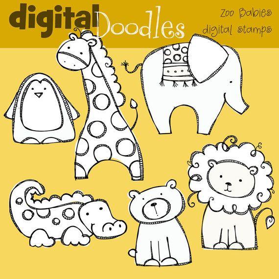KPM Zoo babies digital stamps.